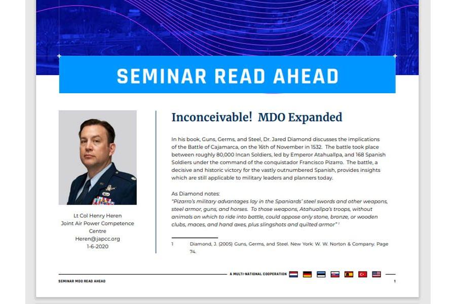 Seminar 2020 Read-Ahead | Lieutenant Colonel Heren (JAPCC) – Inconceivable! MDO Expanded